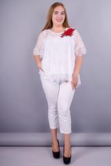 Квітка Роза. Святкова блуза size plus. Білий.