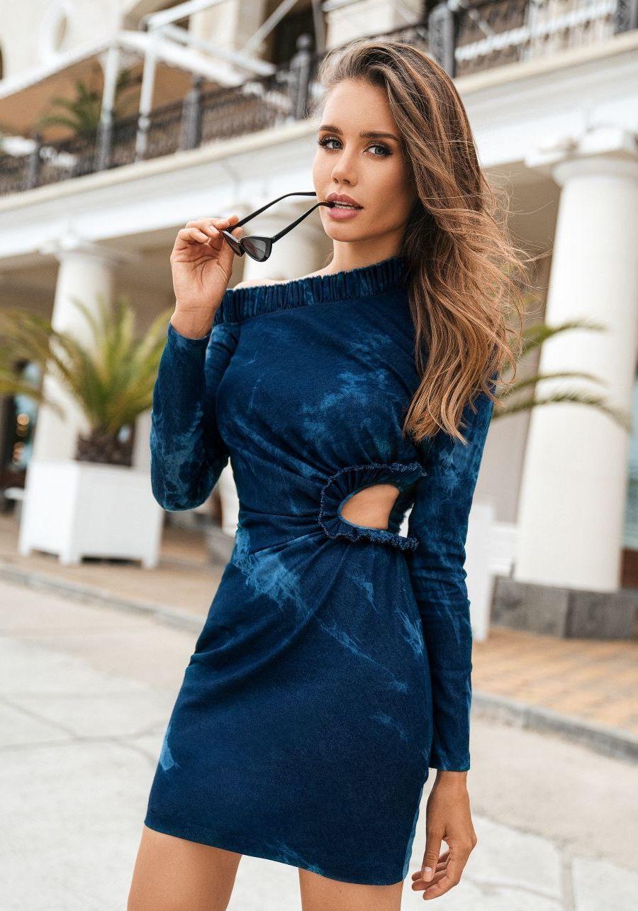 Платье джинсовое темно-синее  Капли с рюшами