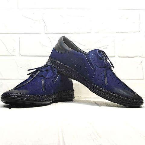 Смарт кэжуал мокасины мужские лето. Кожаные туфли с перфорацией. Синие туфли мокасины Luciano Bellini - Black Blue