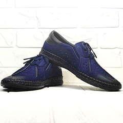 Мокасины туфли мужские Luciano Bellini 91268-S-321 Black Blue.