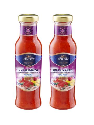 Соус Чили Манго CHILI MANGO Sen Soy Premium стеклянная бутылка 2 штуки по 320 гр 1кор*1бл*2шт