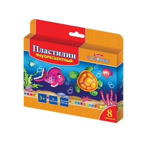 Пластилин HATBER Морская семейка 8 цв восоковй РОССИЯ