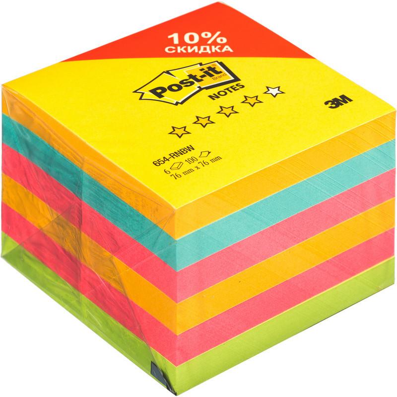 Стикеры Post-it Радуга плюс 76x76 мм неоновые 4 цвета (6 блоков по 100 листов)