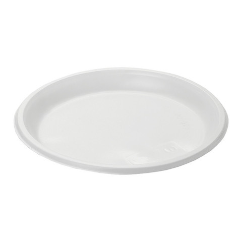 Тарелка одноразовая пластиковая белая 205 мм 100 штук в упаковке
