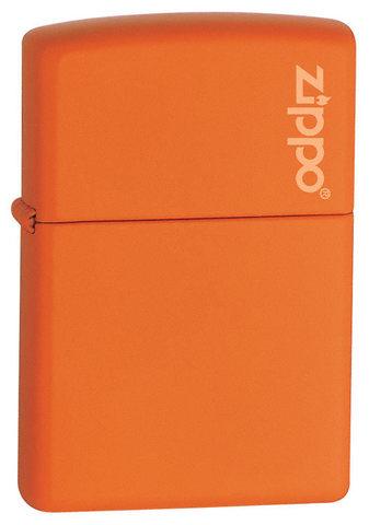 Зажигалка Zippo Orange Matte Logo, латунь/сталь, оранжевая с фирменным логотипом, матовая