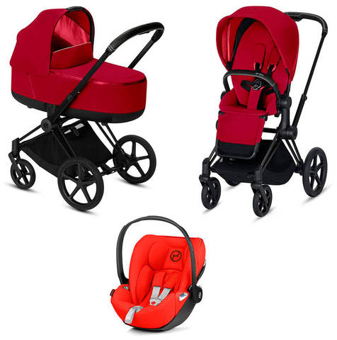 Детская коляска Cybex Priam III 3 в 1 True Red шасси Matt Black