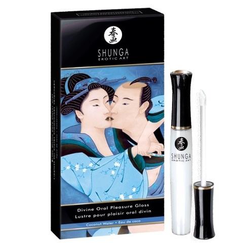 Возбуждающий блеск для губ Shunga с ароматом кокоса - Божественное удовольствие  - 10 мл.