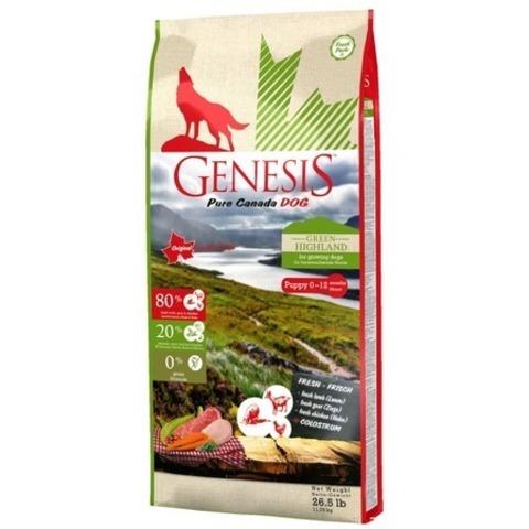 Genesis Pure Canada Green Highland Puppy для щенков, юниоров, беременных и кормящих взрослых собак всех пород с курицей, козой и ягненком, 11,79 кг.
