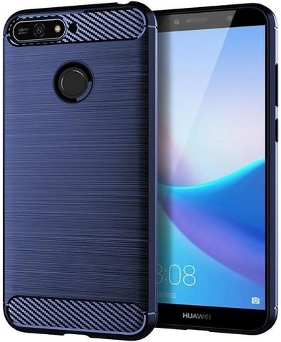 Чехол для Huawei Y6 Prime 2018 (Enjoy 8E, Honor Play 7A Pro) цвет Blue (синий), серия Carbon от Caseport