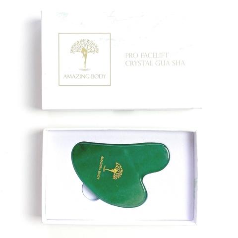 Скребок Гуаша зелёный авантюрин в подарочной  упаковке