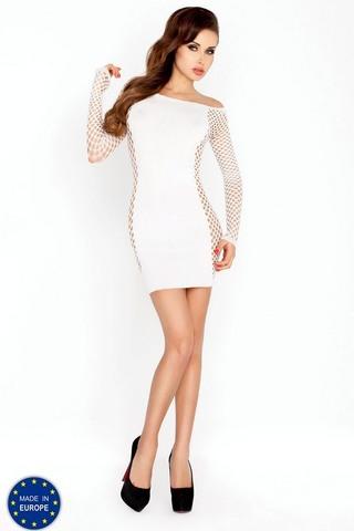 Облегающее мини-платье с декоративной сеткой (025) белое