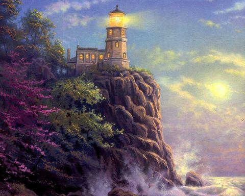 Алмазная Мозаика 30x40 Дом с маяком на горе