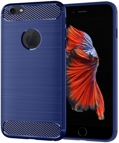 Чехол для iPhone 6 Plus (iPhone 6S Plus) цвет Blue (синий), серия Carbon от Caseport