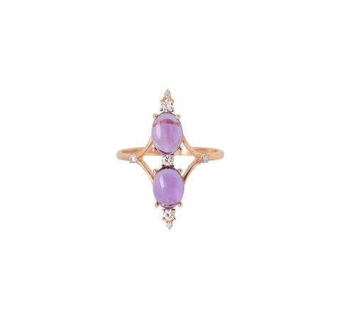 Вертикальное кольцо с аметистом