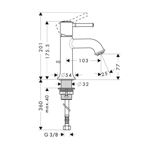 Смеситель для раковины Hansgrohe Talis Classic  14111000 схема