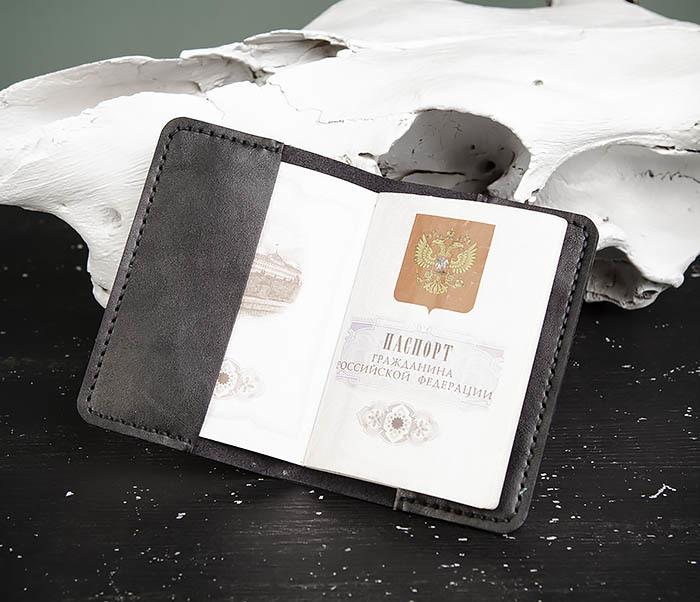 WB174-1 Черная обложка на паспорт из натуральной кожи фото 07