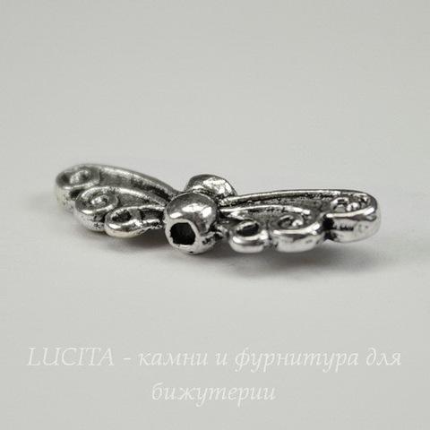 """Бусина металлическая """"Крылья"""" 22х7 мм (цвет - античное серебро)"""