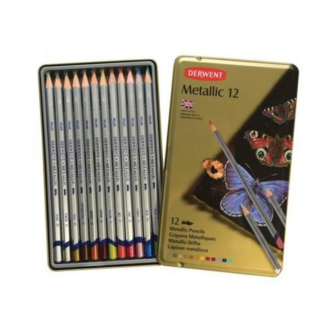 Набор из 12 цветных карандашей Derwent Metallic