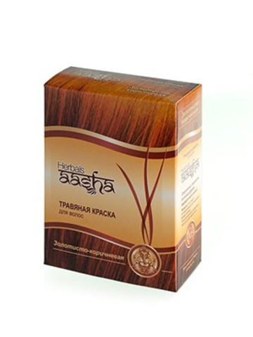 Травяная краска для волос Золотисто-коричневая, 6x10 г Aasha