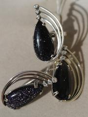 Лунда (кольцо + серьги из серебра)