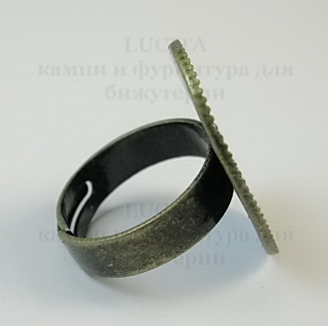 Основа для кольца с сеттингом 25х18 мм (цвет - античная бронза) ()
