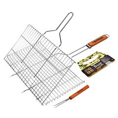 Решетка-гриль для стейков, большая с вилкой, картонный веер в ПОДАРОК, 70(+5)x45x27x2 cм