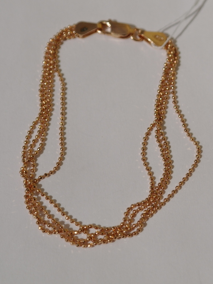 Перлина 4-рядная с позолотой (серебряный браслет )