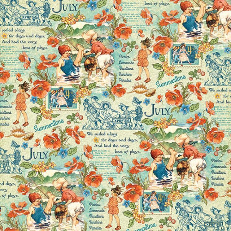 Бумага для скрапбукинга July Montage, Graphic45