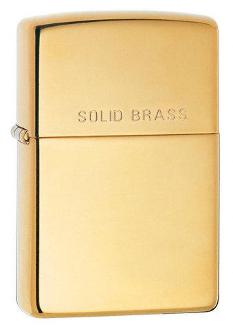 Зажигалка Zippo с покрытием High Polish Brass, латунь/сталь, золотистая, глянцевая, 36x12x56 мм