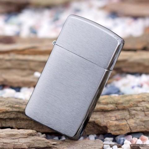 Зажигалка Zippo 1600 Brushed Chrome Slim серебристая