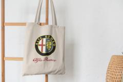 Сумка-шоппер с принтом Альфа Ромео (Alfa Romeo) бежевая 0010