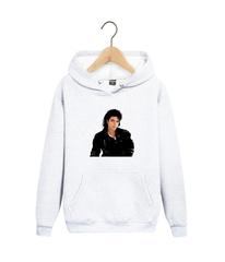 Толстовка белая с капюшоном (худи, кенгуру) и принтом Майкл Джексон (Michael Jackson) 001