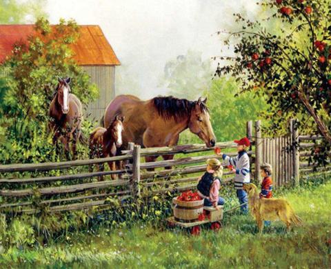 Алмазная Мозаика 30x40 Дети и лошади