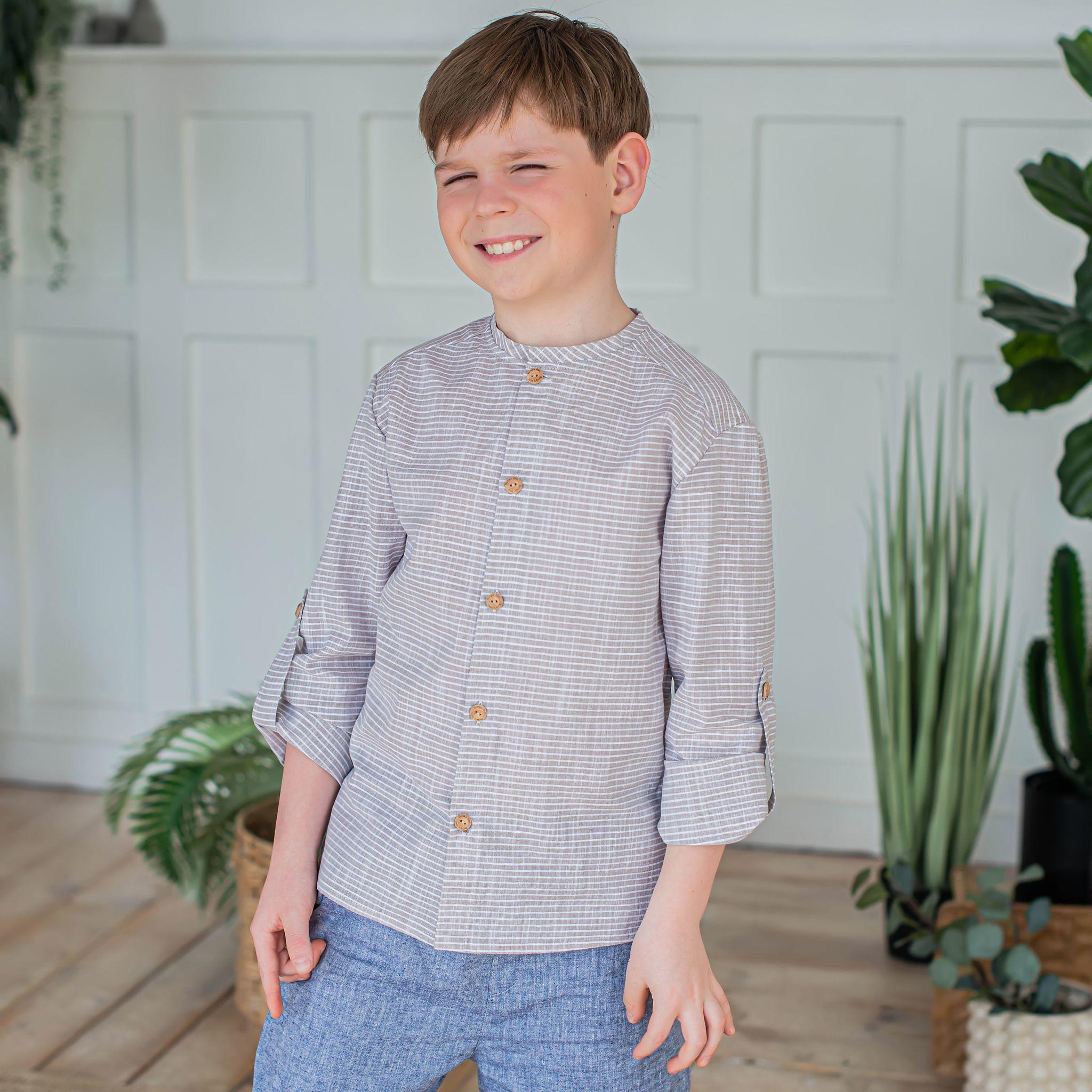 Сhecked сotton shirt for teens - Desert Sand
