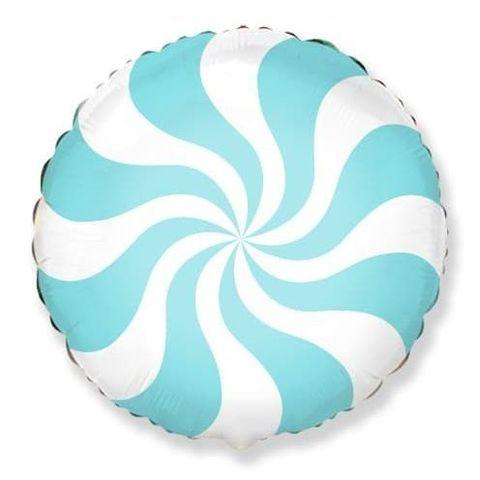 Фольгированный шар круг , леденец, голубой, 46 см