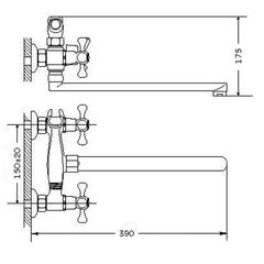 Размеры смесителя для ванной Zegor DAK7 (D5Q)