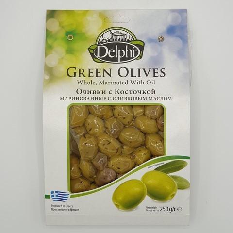 Оливки с косточкой маринованные с оливковым маслом DELPHI, 250 гр