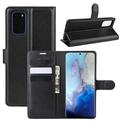 Чехол книжка черного цвета на Samsung Galaxy S20, с отсеком для карт и подставкой от Caseport