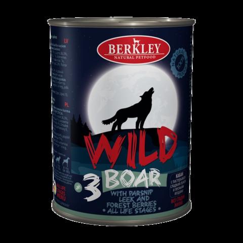 Berkley № 3 Консервы для собак с кабаном пастернаком, сладким луком и лесными ягодами (Банка)