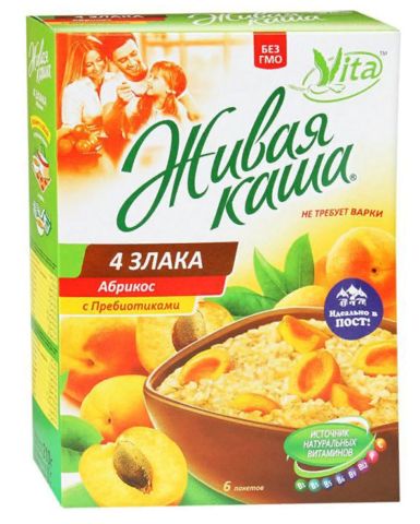 Vita Живая каша 4 злака с абрикосом, витаминами