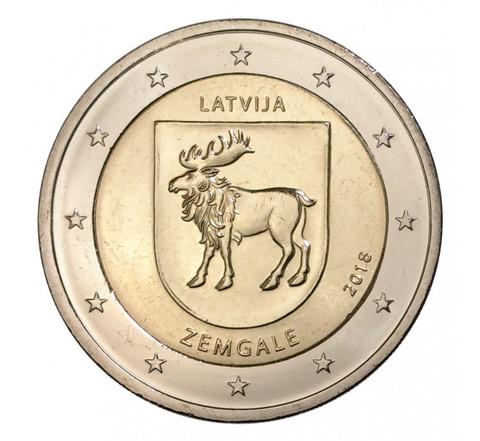 2 евро 2018 Латвия - Земгале - регион Латвии.
