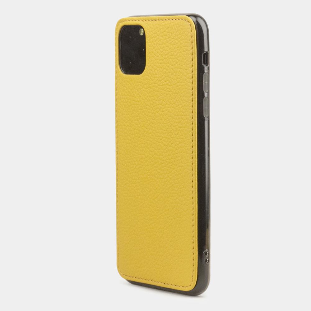 Чехол-накладка для iPhone 11 Pro Max из натуральной кожи теленка, желтого цвета