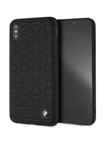 BMW / чехол для телефона iPhone XS Max | Signature Embossed hexagon Hard Leather Black