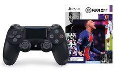 Беспроводной контроллер DualShock 4 (черный, 2ое поколение, CUH-ZCT2E: SCEE) + диск FIFA 21 + PS Plus 14дн