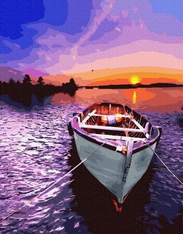 Картина раскраска по номерам 40x50 Лодка на причале  (арт. WA5002)