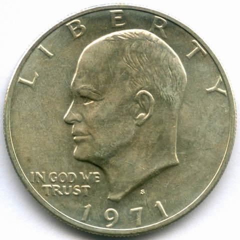 1 доллар 1971 (S). США AU (Лунный). Серебро