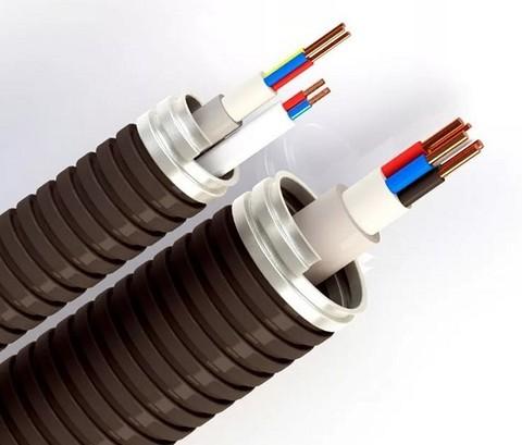 Прокладка кабеля до 4 мм2  в металлорукаве