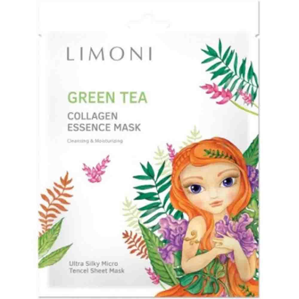 Маска тканевая для лица тонизирующая с Зеленым чаем и Коллагеном
