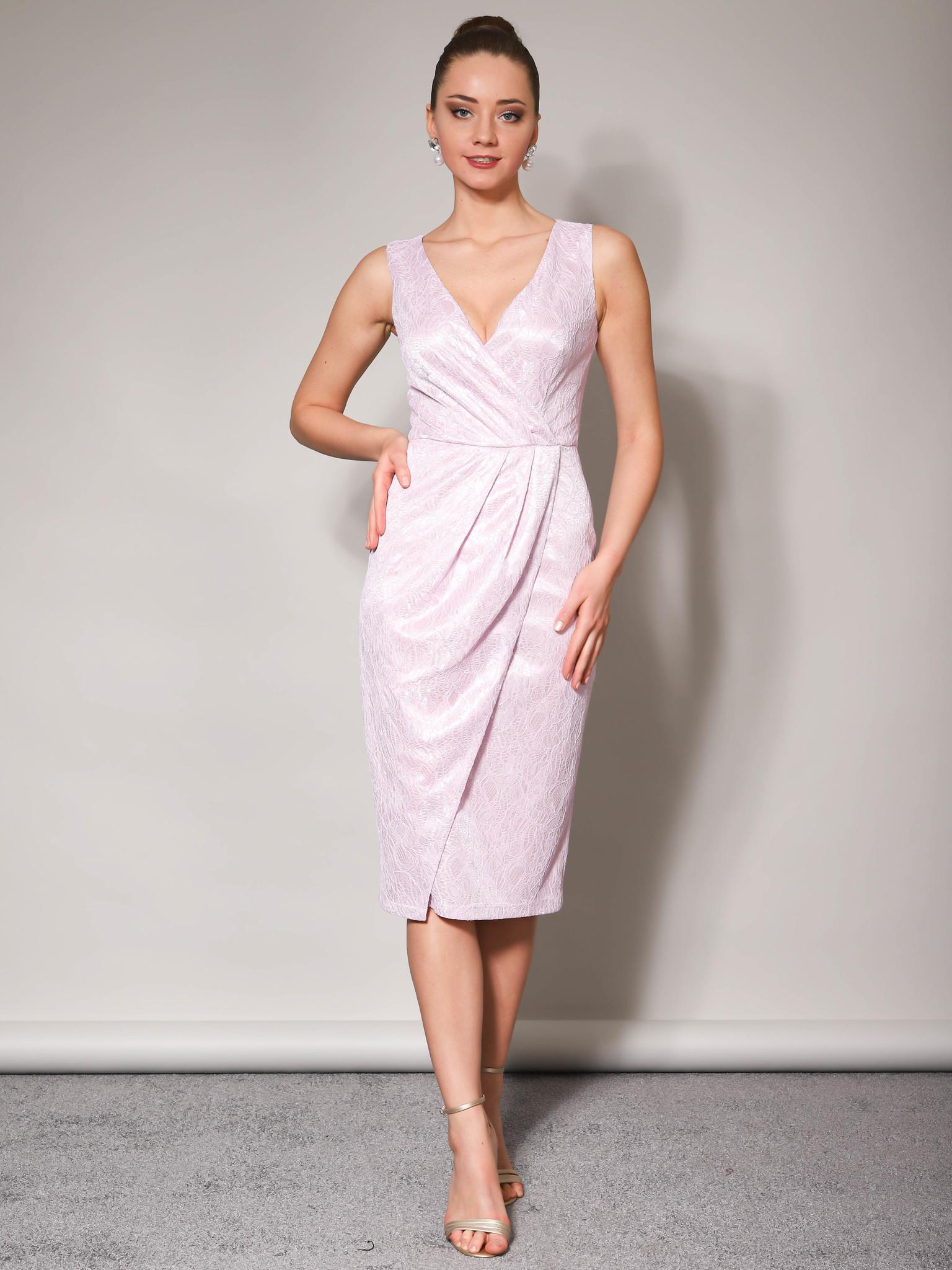 Вечернее платье с блестящим кружевом без рукав (лавандовый)