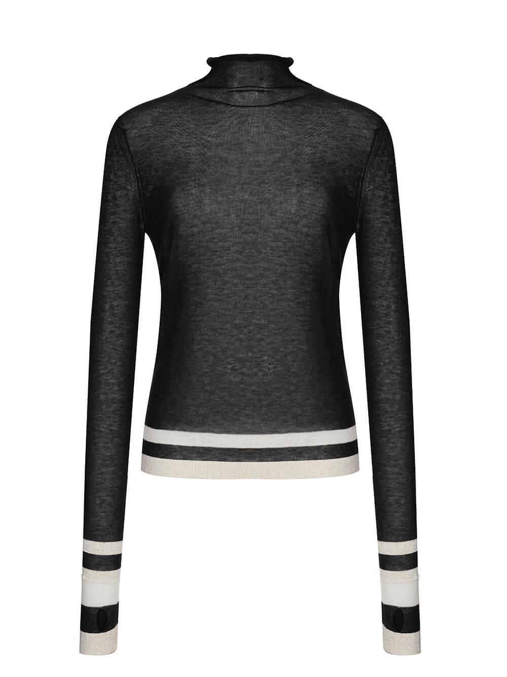 Женская водолазка черного цвета из шерсти - фото 1